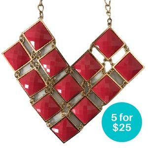 5/$25 - Statement Necklace Pink and Gold